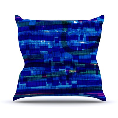 Squares Traffic Outdoor Throw Pillow Color: Blue