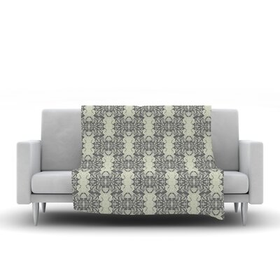Illusion Damask by Mydeas Fleece Throw Blanket Size: 40 L x 30 W, Color: Silver