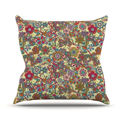 My Butterflies and Flowers by Julia Grifol Outdoor Throw Pillow Color: Yellow