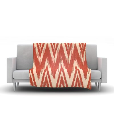 Tribal Chevron Fleece Throw Blanket Color: Red, Size: 80 L x 60 W