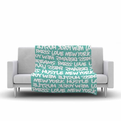 Lux Writing Fleece Throw Blanket Size: 80 L x 60 W, Color: White/Teal