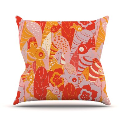 Fishes Here, Fishes There by Akwaflorell Throw Pillow Size: 16 H x 16 W x 3 D
