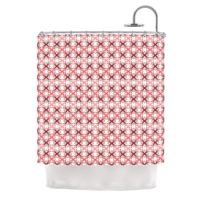 Motifs by Nandita Singh Shower Curtain Color: Red/Pink