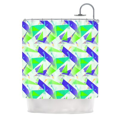 Confetti Triangles by Alison Coxon Shower Curtain Color: Green/Red