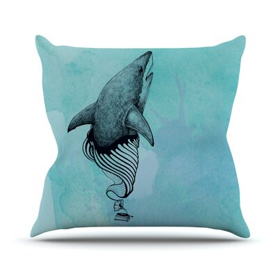 Shark Record by Graham Curran Outdoor Throw Pillow Color: Teal
