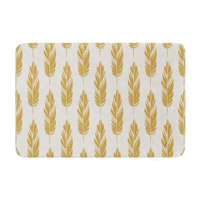 Feathers by Amanda Lane Bath Mat Color: Yellow/Cream, Size: 24 W x 36 L