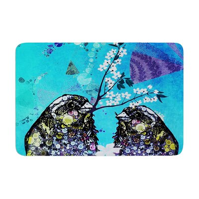Birds In Love by alyZen Moonshadow Bath Mat Color: Blue, Size: 24 W x 36 L
