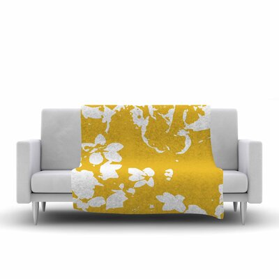 Fleece Throw Blanket Size: 90 L x 90 W, Color: Yellow