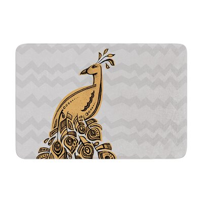 Peacock by Brienne Jepkema Bath Mat Color: Yellow, Size: 17W x 24L