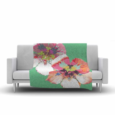 Graphic Flower Nasturtium Fleece Throw Blanket Size: 90 L x 90 W, Color: Mint