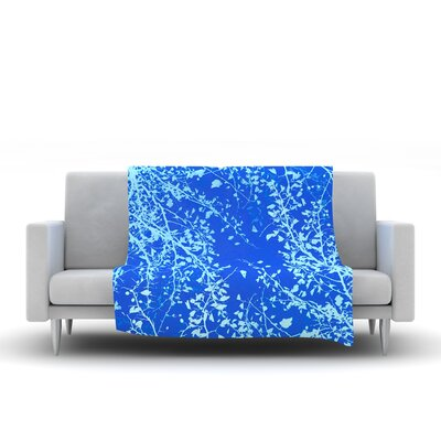 Twigs Silhouette Fleece Throw Blanket Size: 80 L x 60 W, Color: Blue