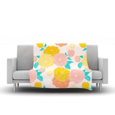 Peonies by Anneline Sophia Fleece Throw Blanket Size: 80 L x 60 W, Color: Peach