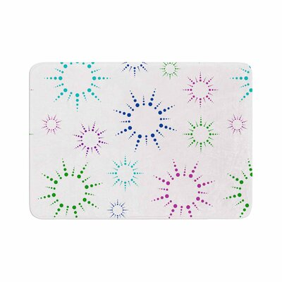Rainbow Fireworks by NL Designs Memory Foam Bath Mat Color: White, Size: 36 L x 24 W
