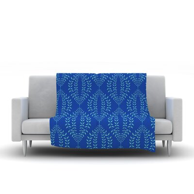 Laurel Leaf by Anneline Sophia Fleece Throw Blanket Size: 60 L x 50 W, Color: Blue