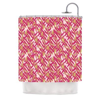 Abstract Print by Nandita Singh Shower Curtain Color: Pink/Red