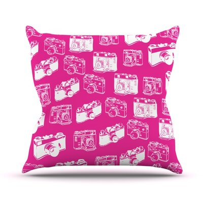 Camera Pattern Outdoor Throw Pillow Color: Pink