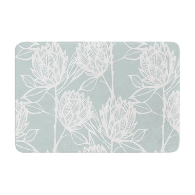 Protea by Gill Eggleston Bath Mat Color: Jade/White, Size: 17W x 24L