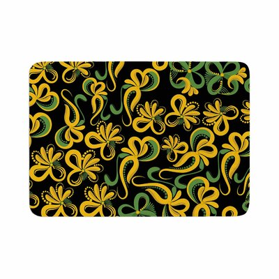 Flowers by Maria Bazarova Memory Foam Bath Mat Size: 36 L x 24 W, Color: Yellow