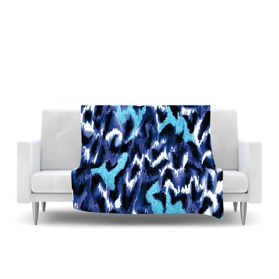 Wild at Heart Fleece Throw Blanket Color: Blue, Size: 80 L x 60 W