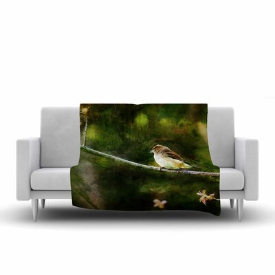 Painted Songbird  Fleece Throw Blanket Size: 90 L x 90 W