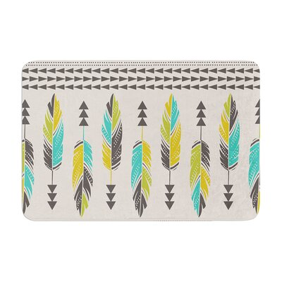 Painted Feathers by Amanda Lane Bath Mat Color: Cream, Size: 17W x 24L