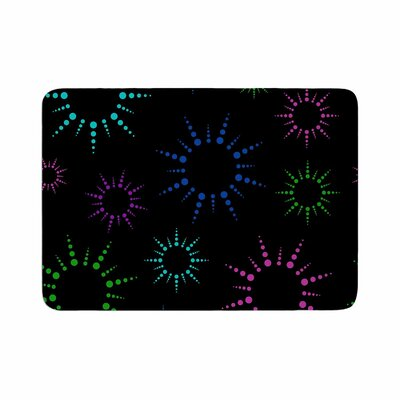 Rainbow Fireworks by NL Designs Memory Foam Bath Mat Size: 24 L x 17 W, Color: Black