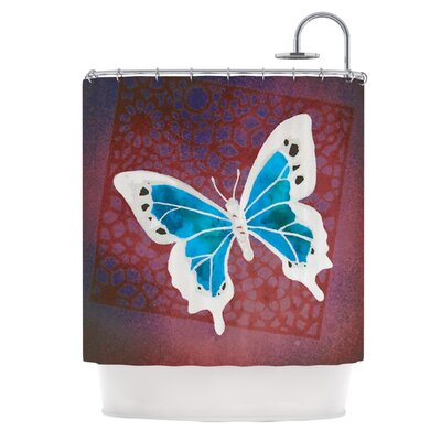 Flutter by Padgett Mason Shower Curtain Color: Maroon/Aqua