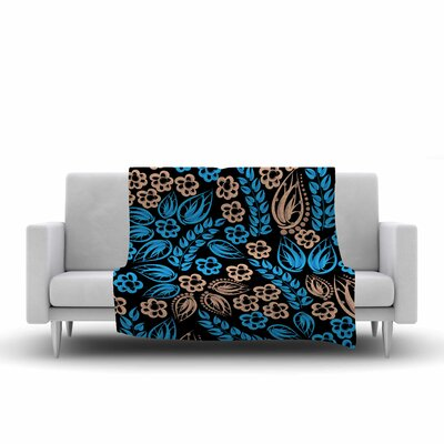 Flowers Fleece Throw Blanket Size: 60 L x 50 W, Color: Blue