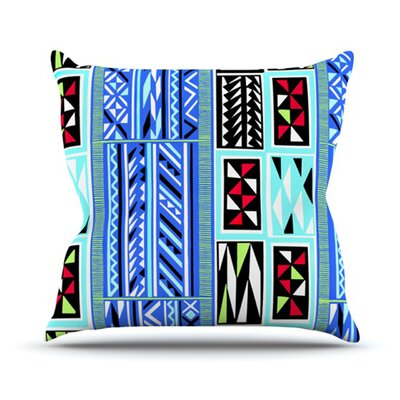 American Blanket Pattern by Vikki Salmela Outdoor Throw Pillow Color: Blue