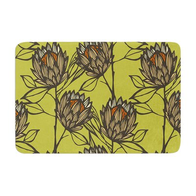 Protea by Gill Eggleston Bath Mat Color: Olive, Size: 17W x 24L