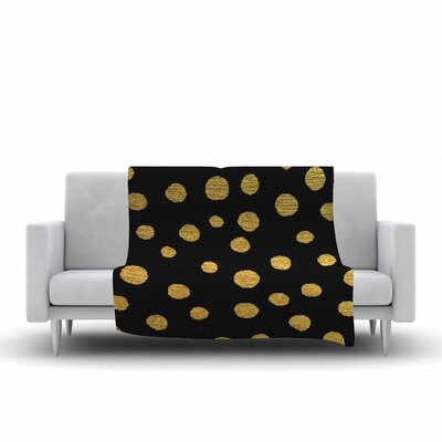 Golden Dots by Nika Martinez Fleece Blanket Color: Black