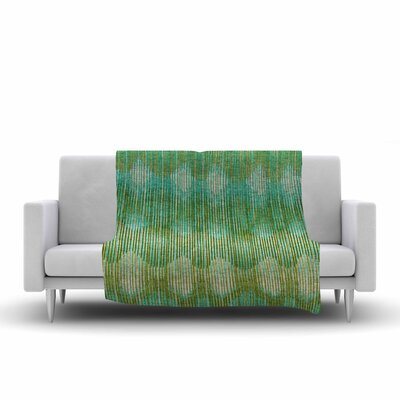 Ikat Vintage Fleece Throw Blanket Size: 80 L x 60 W, Color: Green/Gold
