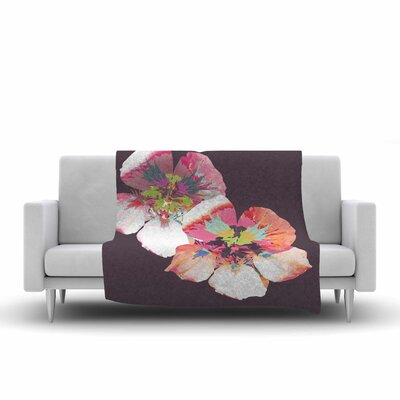 Graphic Flower Nasturtium Fleece Throw Blanket Color: Lavender, Size: 80 L x 60 W