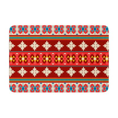Borders by Nandita Singh Bath Mat Color: Red