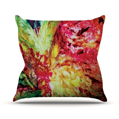 Passion Flowers by Mary Bateman Outdoor Throw Pillow Color: Pink/Yellow