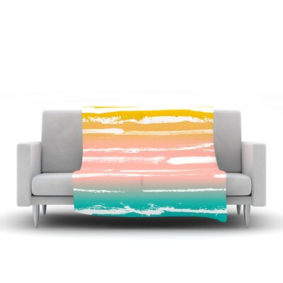 Painted Stripes by Anneline Sophia Fleece Throw Blanket Size: 40 L x 30 W, Color: Peach