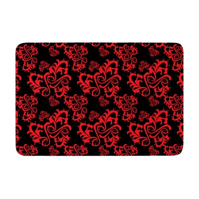 Sweetheart Damask by Mydeas Bath Mat Color: Black/Red, Size: 24 W x 36 L
