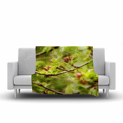 Apple Blossom Branch Throw Blanket Size: 90 L x 90 W