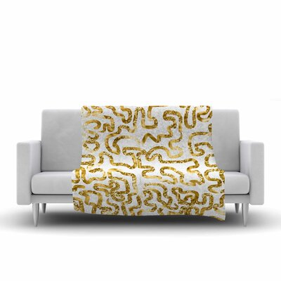 Squiggles by Anneline Sophia 40 Fleece Throw Blanket Size: 80 L x 60 W, Color: Gold/Cream