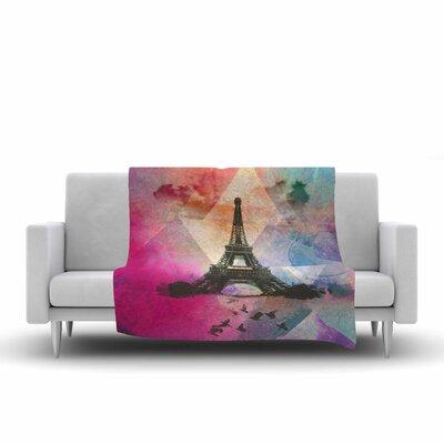 Eiffel Tower by AlyZen Moonshadow Fleece Blanket Color: Deep Pink