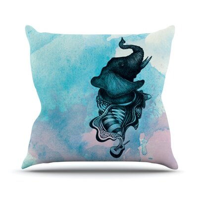 Elephant Guitar by Graham Curran Outdoor Throw Pillow Color: Multi