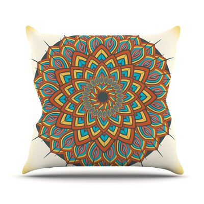 Floral Mandala by Famenxt Throw Pillow Size: 16 H x 16 W x 3 D