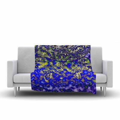 Mandala Art by Li Zamperini Fleece Blanket Color: Turquoise