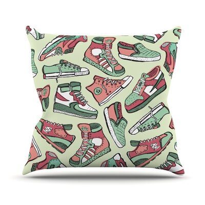 Sneaker Lover by Brienne Jepkema Outdoor Throw Pillow Color: Light Green/Red