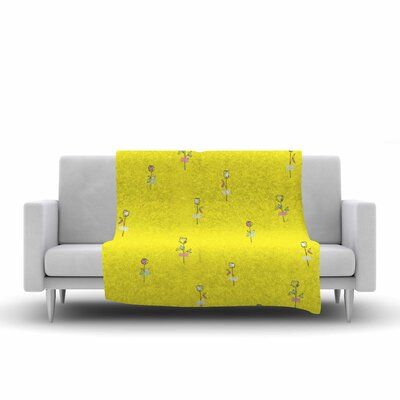 Rosewall by MaJoBV Fleece Blanket Color: Yellow
