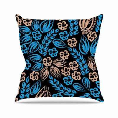 Flowers Throw Pillow Size: 16 H x 16 W x 6 D, Color: Blue