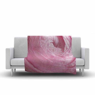 Ranunculus Flower Petals Fleece Throw Blanket Size: 90 L x 90 W