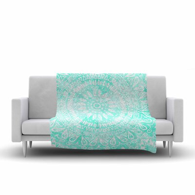 Boho Flower Mandala by Nika Martinez Fleece Blanket Color: Teal