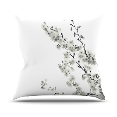 Cherry Sakura Throw Pillow Size: 18 H x 18 W, Color: White