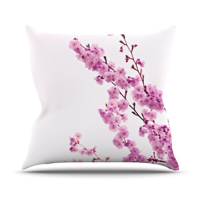 Cherry Sakura Throw Pillow Size: 26 H x 26 W, Color: White
